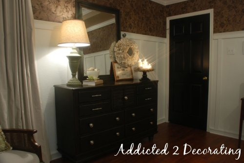 dresser makeover, black interior doors