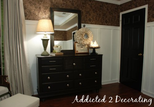Craigslist dresser makeover, black interior doors, board and batten walls