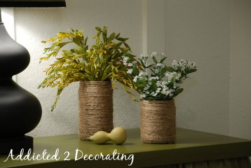 Make inexpensive vases out of food jars and jute twine