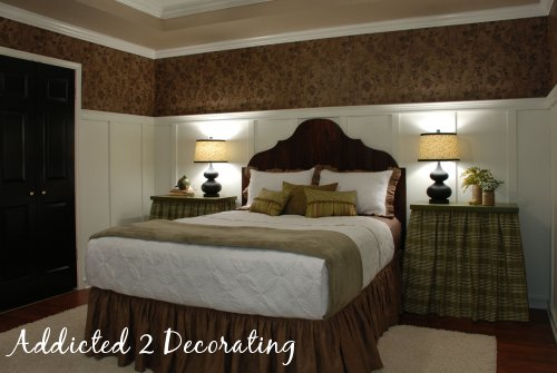 Master bedroom makeover with board and batten walls, black interior doors, DIY wood headboard