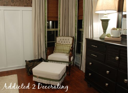 Master bedroom makeover, board and batten walls, reupholstered chair, drop cloth curtains