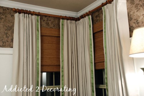Lined curtains made with drop cloths, with ribbon trim