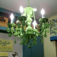 green painted acrylic chandelier