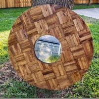 decorative mirror made of wood shims 1_thumb