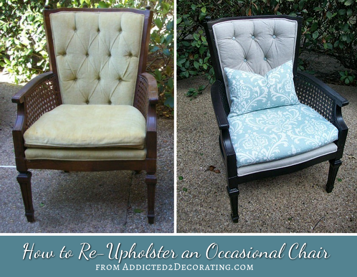 reupholstered occasional chair with cane sides and diamond