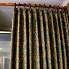 Make your own diy unlined pinch pleated curtains with contrast fabric band