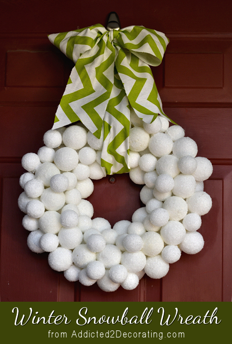 Winter snowball wreath made from Styrofoam balls covered in Epsom salt