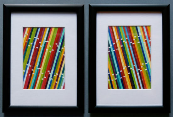 Modern framed wall art created from strips of paint chip cards, from The 3 R's blog