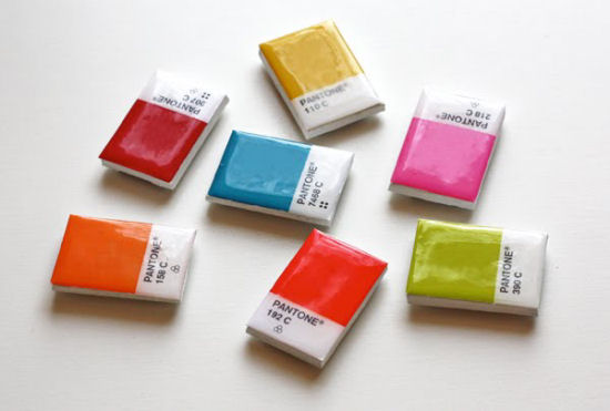 Refrigerator magnets created from Pantone paint chips.  From How About Orange blog.