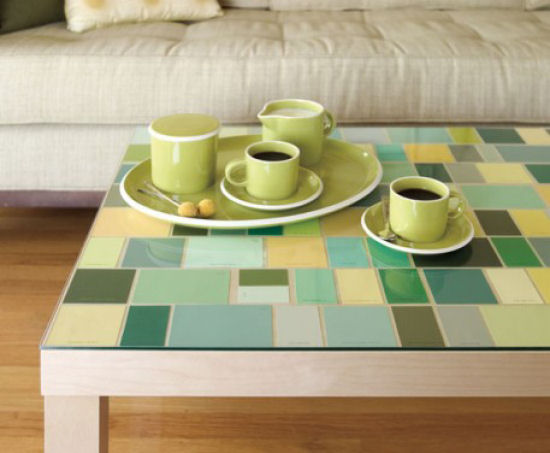 Faux mosaic tile table top created with paint chips.  From ReadyMade.