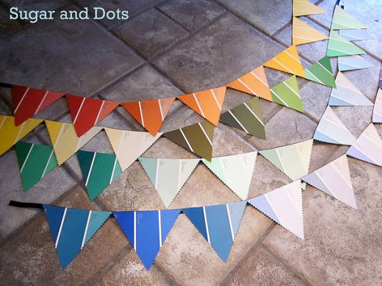 Pennant bunting created from Behr paint chip cards.  From Sugar and Dots blog.