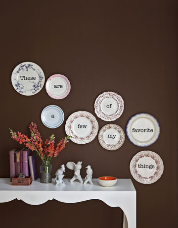 plate wall with wording on plates
