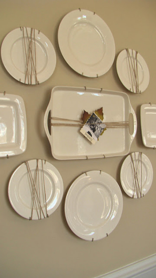 plate wall with plates wrapped in jute twine