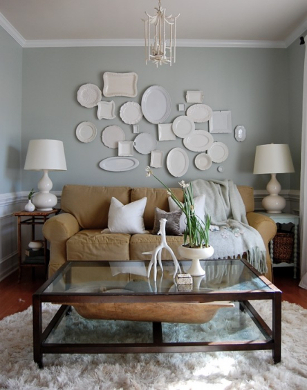 random plate wall with white plates