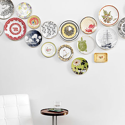 freeform decorative plate wall with colorful plates