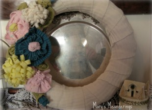 inspiration files--spring wreath made from old sweaters from marys meanderings