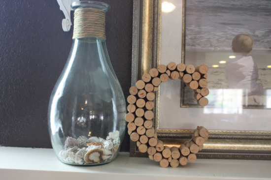 create a monogram letter with wine corks