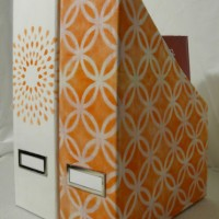 inspiration files--stenciled fabric magazine holders from the stonybrook house