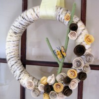 spring wreath--yarn wrapped wreath from a soft place to land