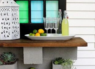 inspiration files--cinder block vertical planter and outdoor bar combo from hunted interior