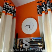 inspiration files--drop cloth curtains with contrast fabric and ribbon detail from it all started with paint