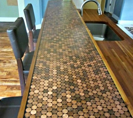 How to make an epoxied penny countertop, from Domestic Imperfection