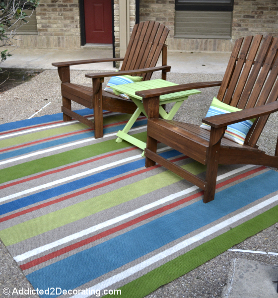 Outdoor rug painted with latex paint