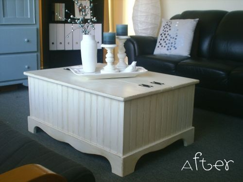 Coffee table makeover from AKA Design - country coffee table updated with bead board and paint