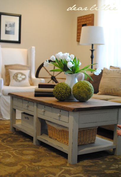 Coffee Table Makeover From Dear Lillie After Light Blue Distressed Finish With Stained Top