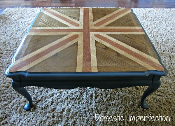 Coffee table makeover with stained Union Jack design on top from Domestic Imperfection