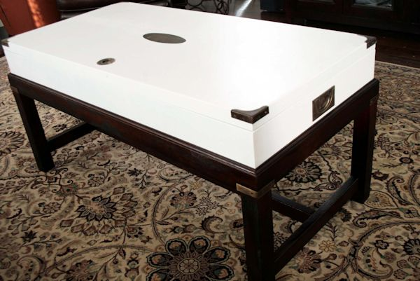 Coffee table makeover from Rachel Bishop Designs - after - stained base with white painted top