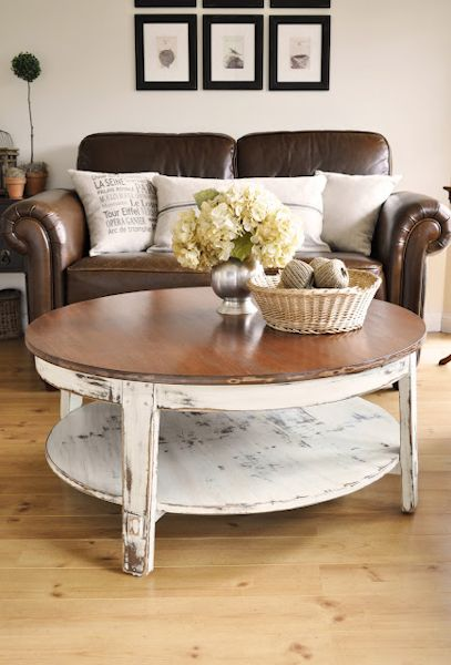 Coffee table makeover from The Painted Hive - stained top with white painted and distressed base