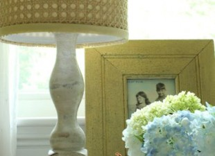 inspiration files--natural cane lampshade horchow knockoff from at home on the bay blog