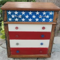 Americana dresser in red, white and blue with spigot handles as drawer pulls, from Freddy and Petunia blog