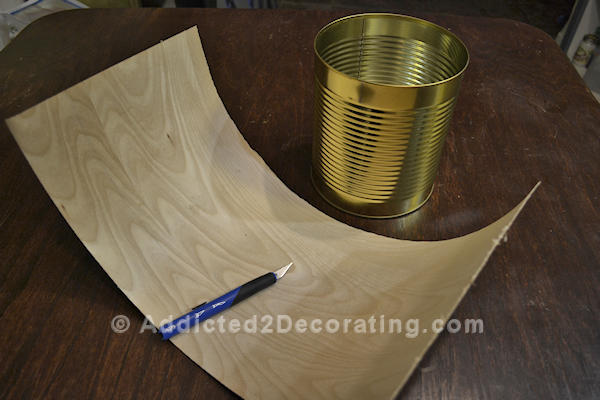 Use wood veneer to turn a coffee can into a pretty vase