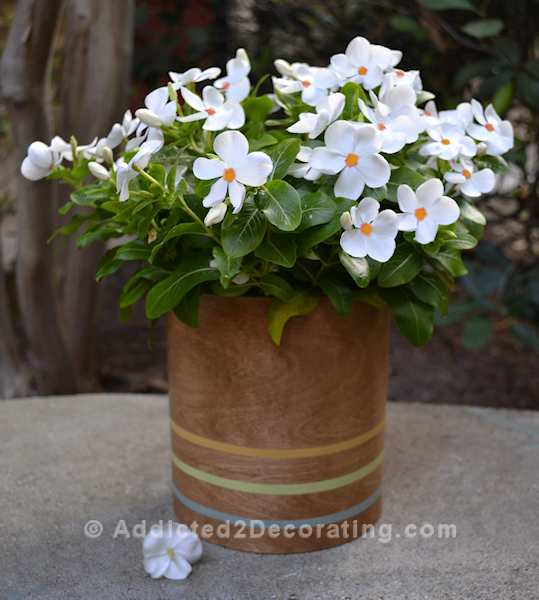 Make this simple and quick DIY vase with wood veneer and a coffee can