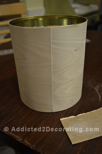 Wood veneer wrapped around a coffee can to make a pretty and simple vase