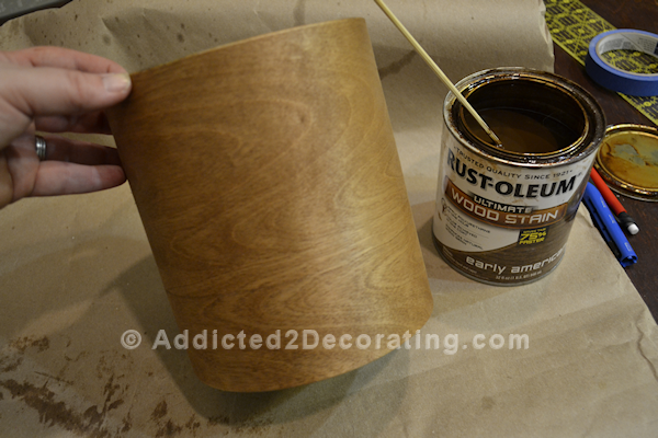 Make a pretty vase with wood veneer and a coffee can