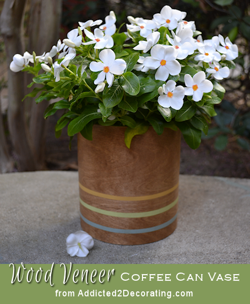 Create a pretty wood vase using wood veneer and a coffee can.