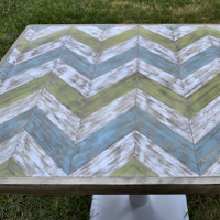chevron wood table top - thumb