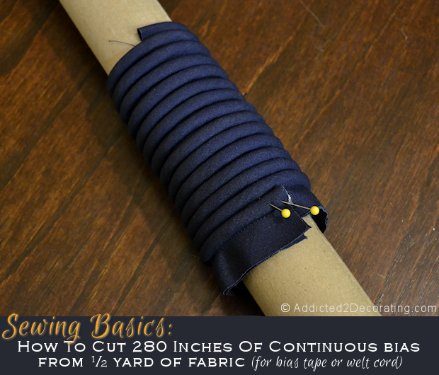 How to make 280 inches of continuous bias for welt cord from 1/2 yard of fabric
