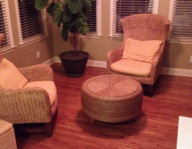 Diy sisal ottoman made from a tire Things to make out of old tires