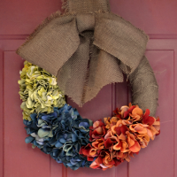 fall color block hydrangea wreath  - thumbnail