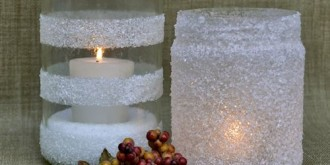 snowy winter candleholders made with epsom salt - thumbnail