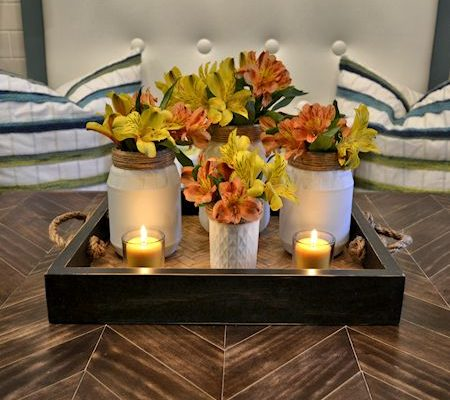 turn empty food jars into a pretty table centerpiece