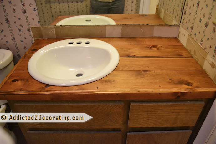 Make a wood countertop for the bathroom