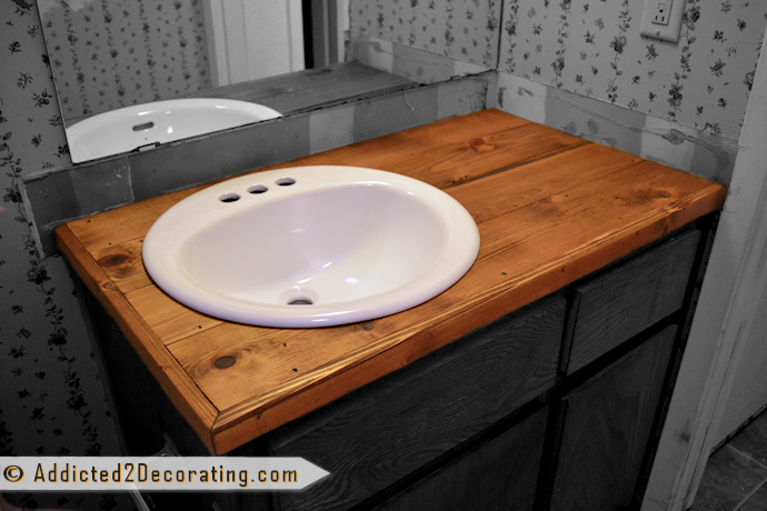 DIY wood countertop for the bathroom