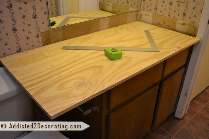DIY wood bathroom countertop