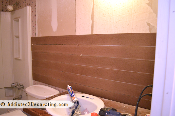 Bathroom Makeover Day 7 – Faux Wood Plank Walls, Part 1