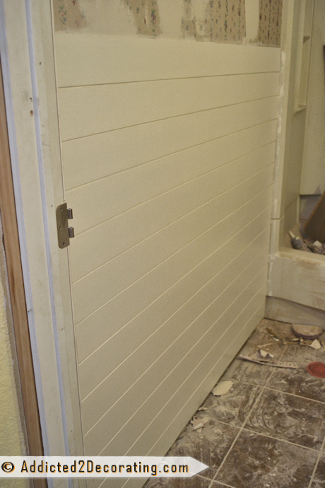 Bathroom Makeover Day 8 – Faux Wood Plank Walls, Part 2